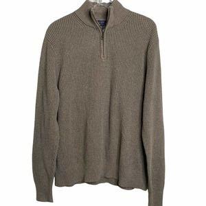 J.Crew Waffle Knit Quarter 1/4 Zip Sweater Gray Mens Size XL 100% Cotton